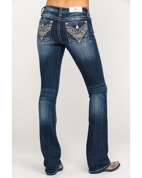 Miss Me Women's Gold Scroll Flex Flap Dark Boot Jeans , Blue, hi-res