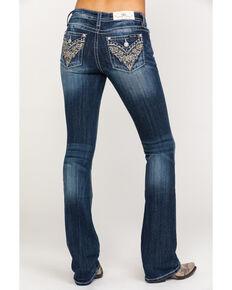c12de0141a6 Miss Me Women s Gold Scroll Flex Flap Dark Boot Jeans