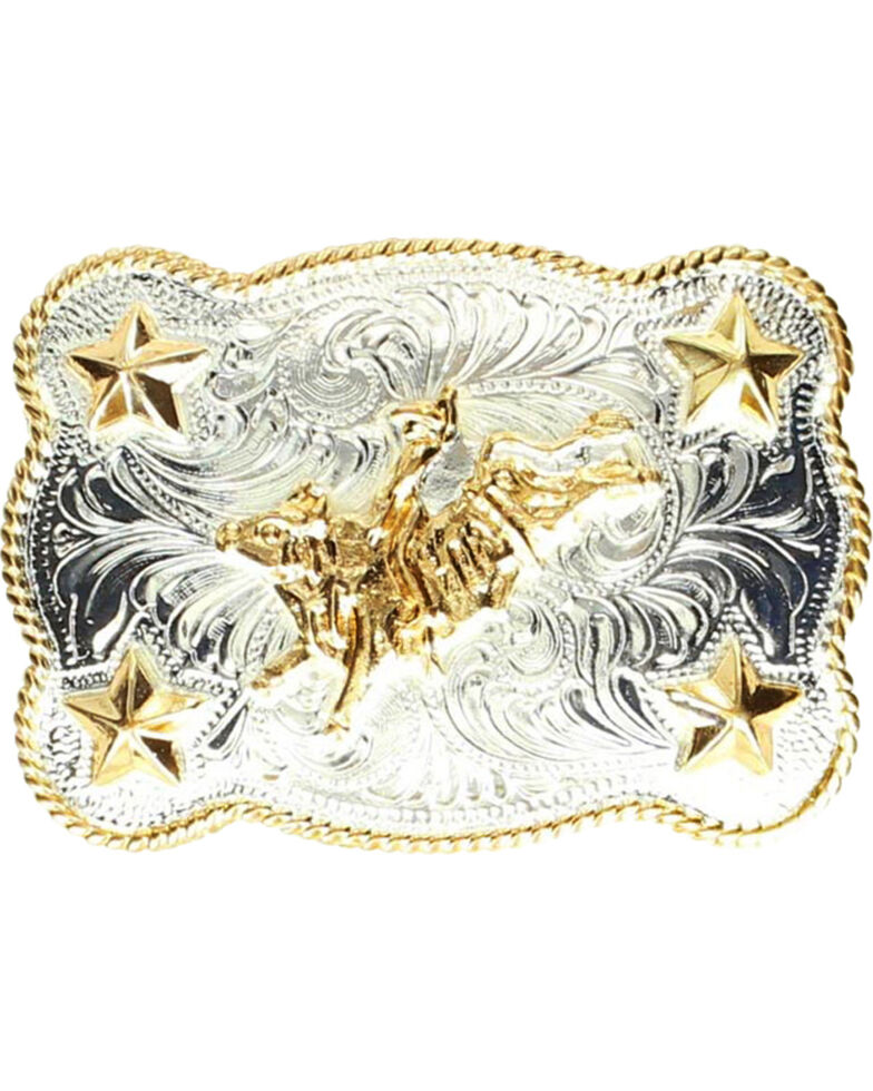 M & F Western Kids' Bull Rider & Stars Belt Buckle, Silver, hi-res