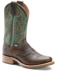 Double H Men's Domestic Western Boots - Round Toe, Brown, hi-res