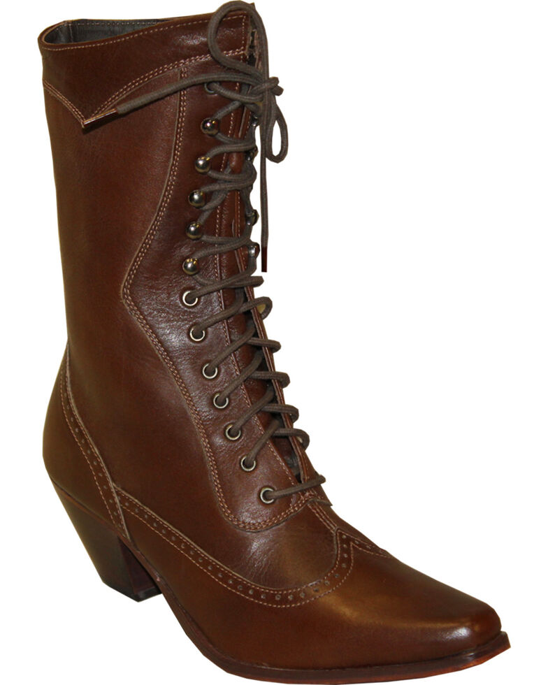 "Rawhide by Abilene Women's 8"" Victorian Lace Up Boots - Snip Toe, Brown, hi-res"