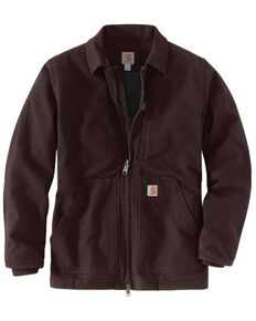 Carhartt Men's Dark Brown Washed Duck Sherpa Lined Work Coat - Big , Dark Brown, hi-res