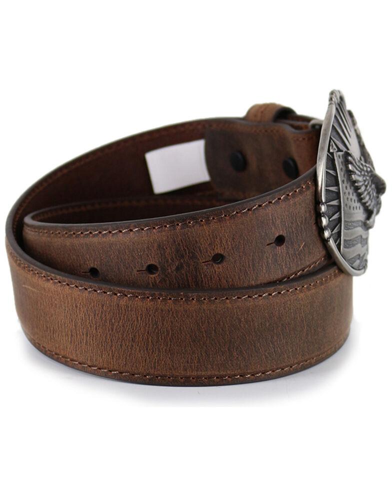 Cody James® Men's Patriotic Eagle Leather Belt, Brown, hi-res