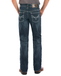 Rock & Roll Cowboy Boys' Adjustable Waistband Boot Cut Jeans, Blue, hi-res