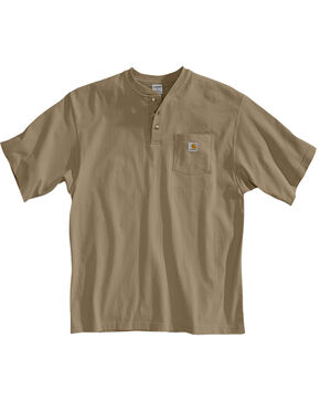 Carhartt Short Sleeve Henley Work Shirt, Desert, hi-res