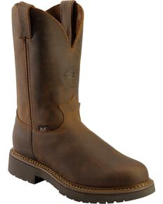 "Justin Men's 11"" Rugged Western Work Boots, Chocolate, hi-res"