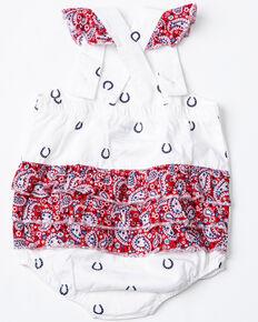 516ef176 Wrangler Infant Girls Horseshoe Print Ruffle Romper, White, hi-res