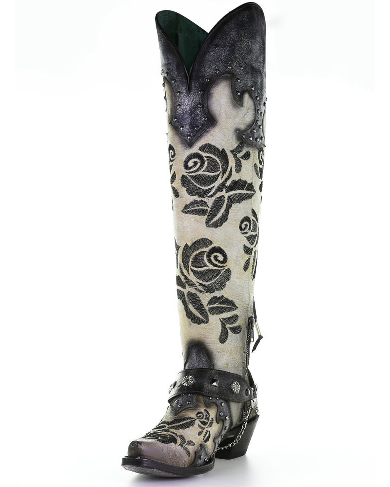Corral Women's Rose Embroidery Western Boots - Snip Toe, White, hi-res