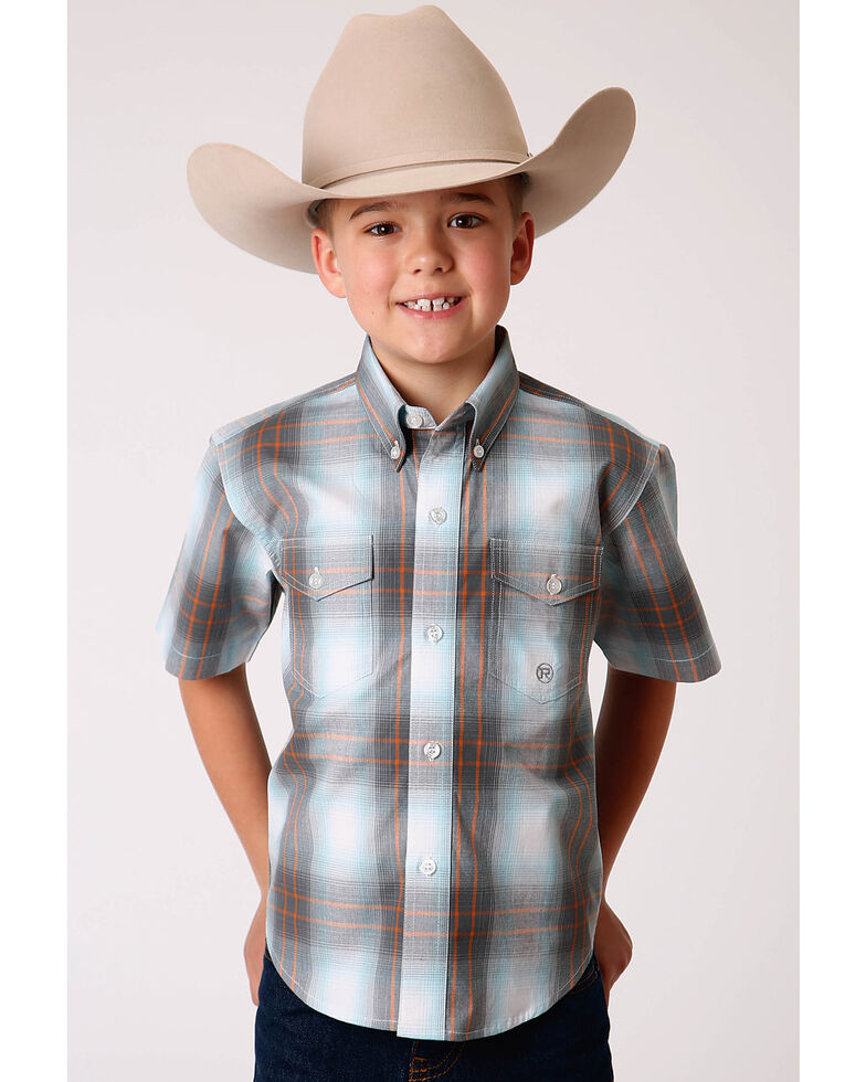 Amarillo Boys' Copper Ridge Dawn Ombre Plaid Short Sleeve Snap Western Shirt , Multi, hi-res