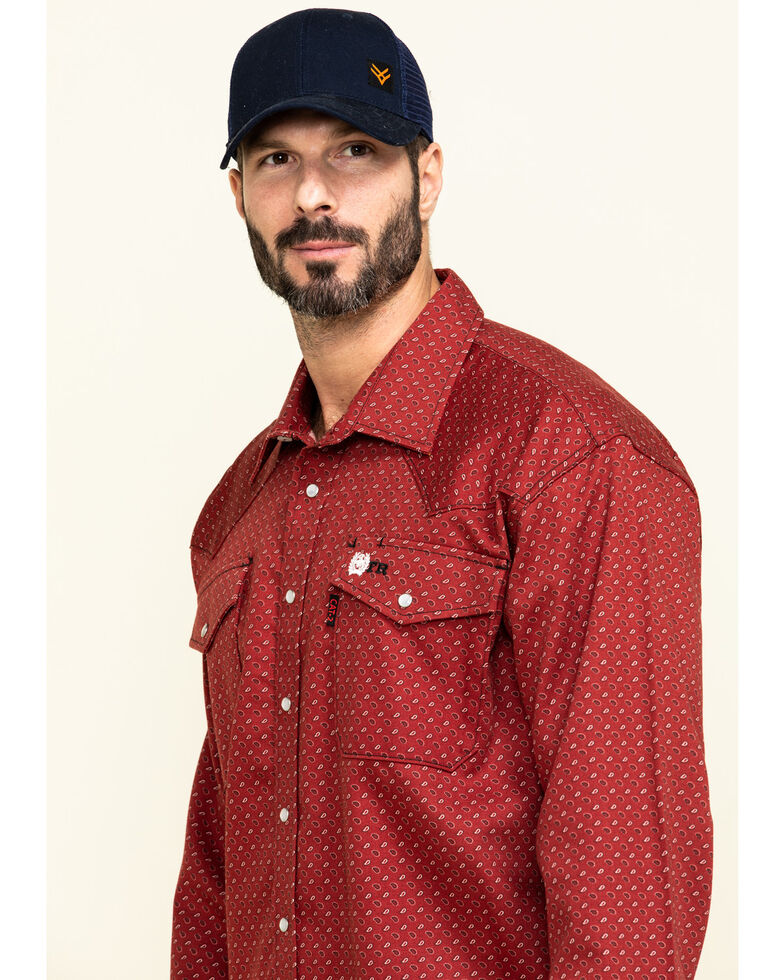 Cinch Men's FR Red Geo Print Long Sleeve Work Shirt , Red, hi-res