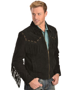 Scully Boar Suede Fringe Jacket, Black, hi-res