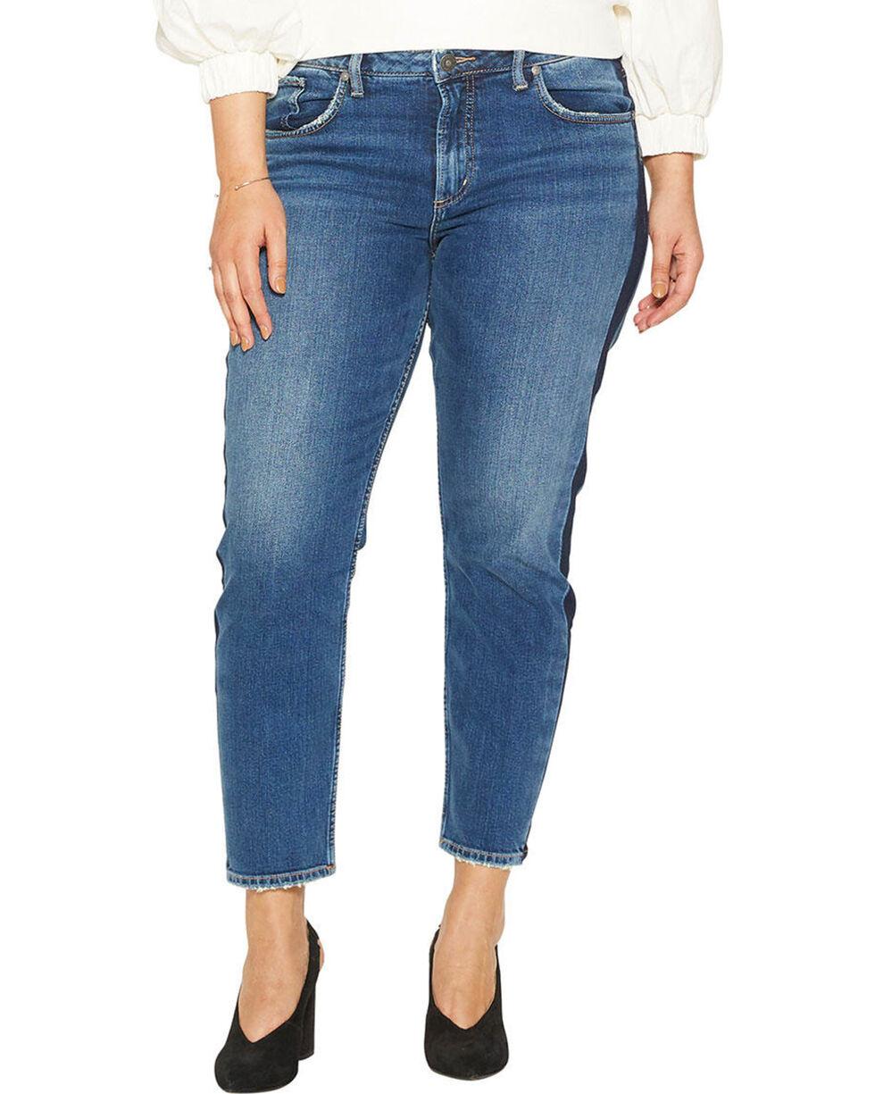 Silver Women's Vintage Dark Wash Slim Leg Jeans - Plus Size , Indigo, hi-res