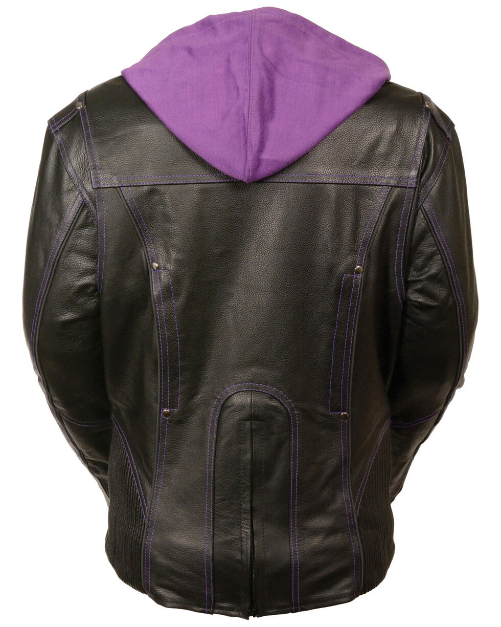 Milwaukee Leather Women's 3/4 Jacket With Reflective Tribal Detail - 5X, Black/purple, hi-res