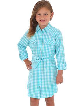 Wrangler Girls' Turquoise Gingham Plaid Dress , Turquoise, hi-res