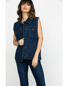 Wrangler Women's Denim Western Fashion Vest, Indigo, hi-res