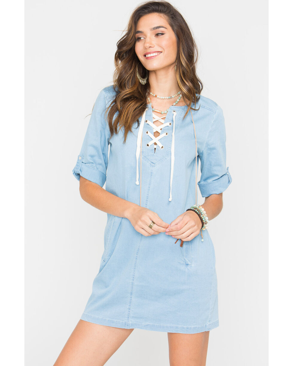 Jack Women's Minnie Chambray Lace Up Dress, Blue, hi-res