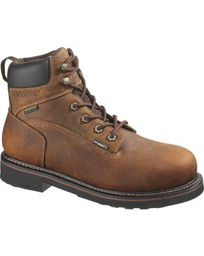 "Wolverine Men's Breck 6"" Steel Toe Waterproof Work Boots, Dark Brown, hi-res"