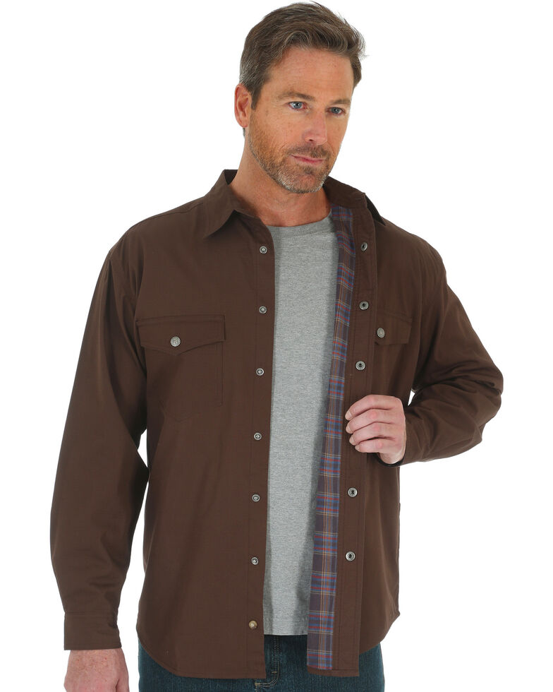 6040e6c3 Zoomed Image Wrangler Men's RIGGS Workwear Flannel Lined Ripstop Shirt  Jacket - Big & Tall , Chocolate,