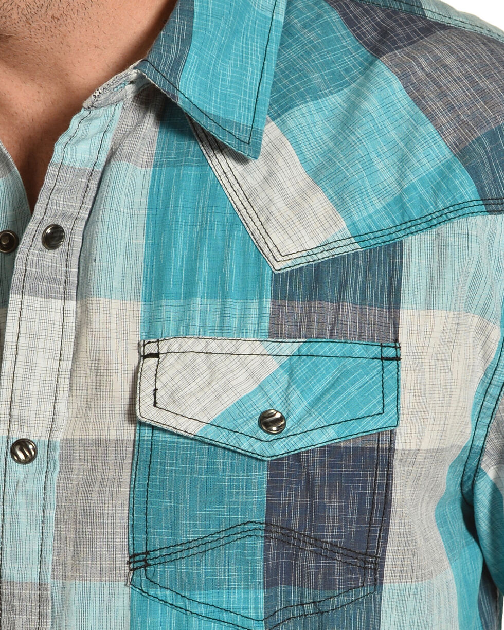 Moonshine Spirit Men's Haggard Large Check Print Short Sleeve Shirt, Turquoise, hi-res