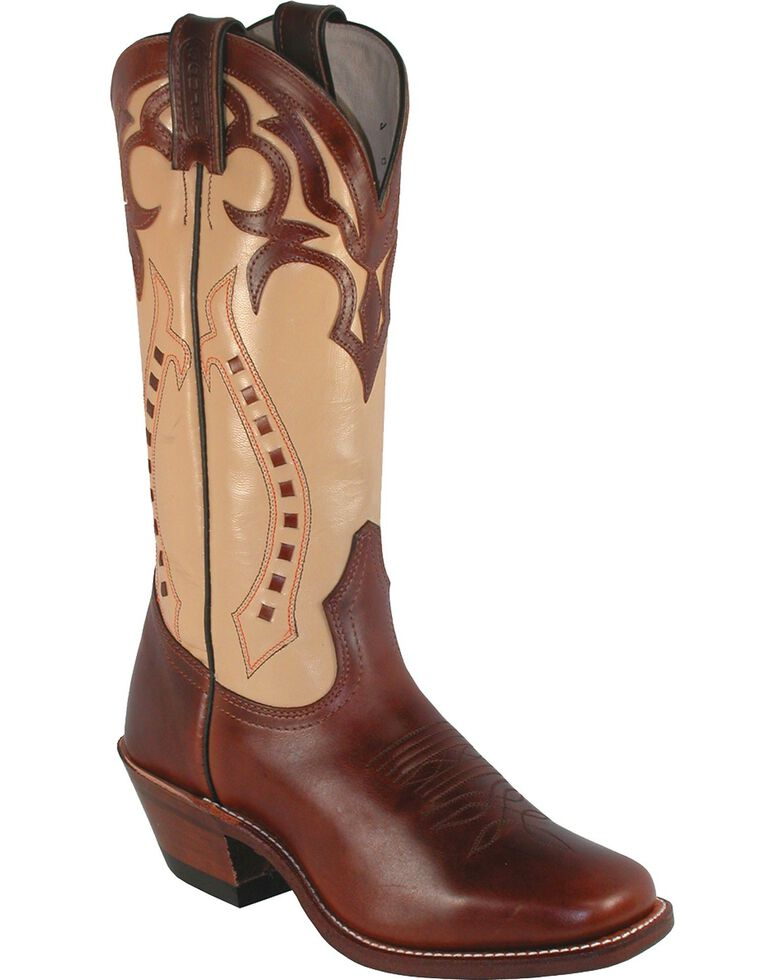 Boulet Women's Ranch Hand Cowgirl Boots - Square Toe, Tan, hi-res