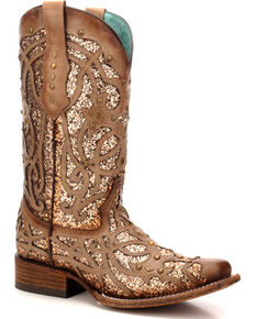 Corral Women's Orix Glitter Inlay & Studded Cowgirl Boots - Square Toe, Brown, hi-res