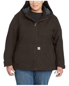 Carhartt Women's Dark Brown Full Swing Caldwell Duck Jacket - Plus, Dark Brown, hi-res