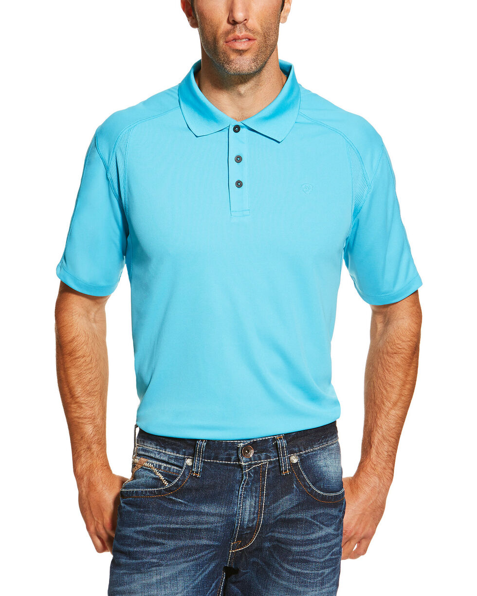 Ariat Men's Sun Heat Tek Short Sleeve Polo, Blue, hi-res