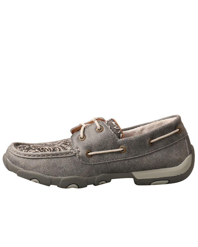 Twisted X Women's Tooled Boat Shoes - Moc Toe, Grey, hi-res