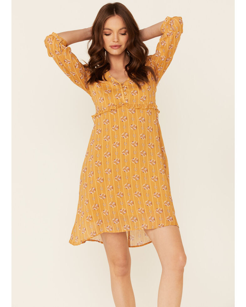 Stetson Women's Horseshoe Print Dress, Mustard, hi-res