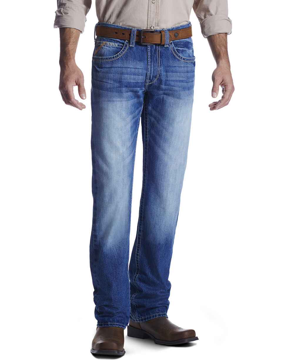 Ariat Men's M5 Low Rise Straight Leg Jeans, Med Blue, hi-res