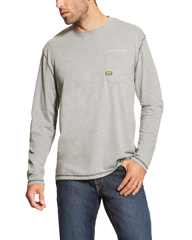 Ariat Men's Rebar Workman Long Sleeve Work T-Shirt - Tall, Heather Grey, hi-res