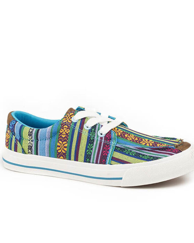 Roper Women's Aztec Pattern Blue Shoes, Blue, hi-res