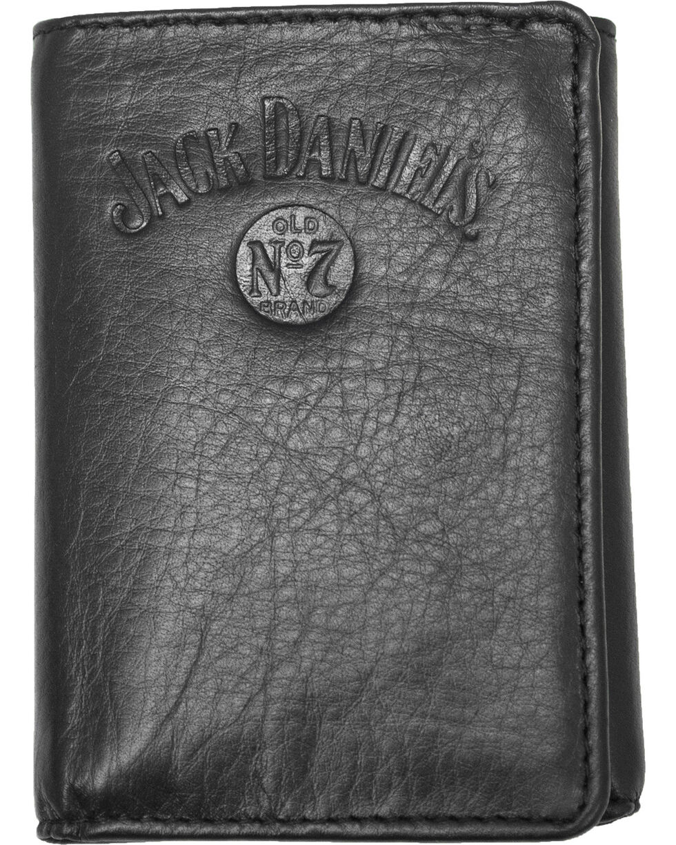 Jack Daniel's Men's Black Tri-fold Wallet , Black, hi-res