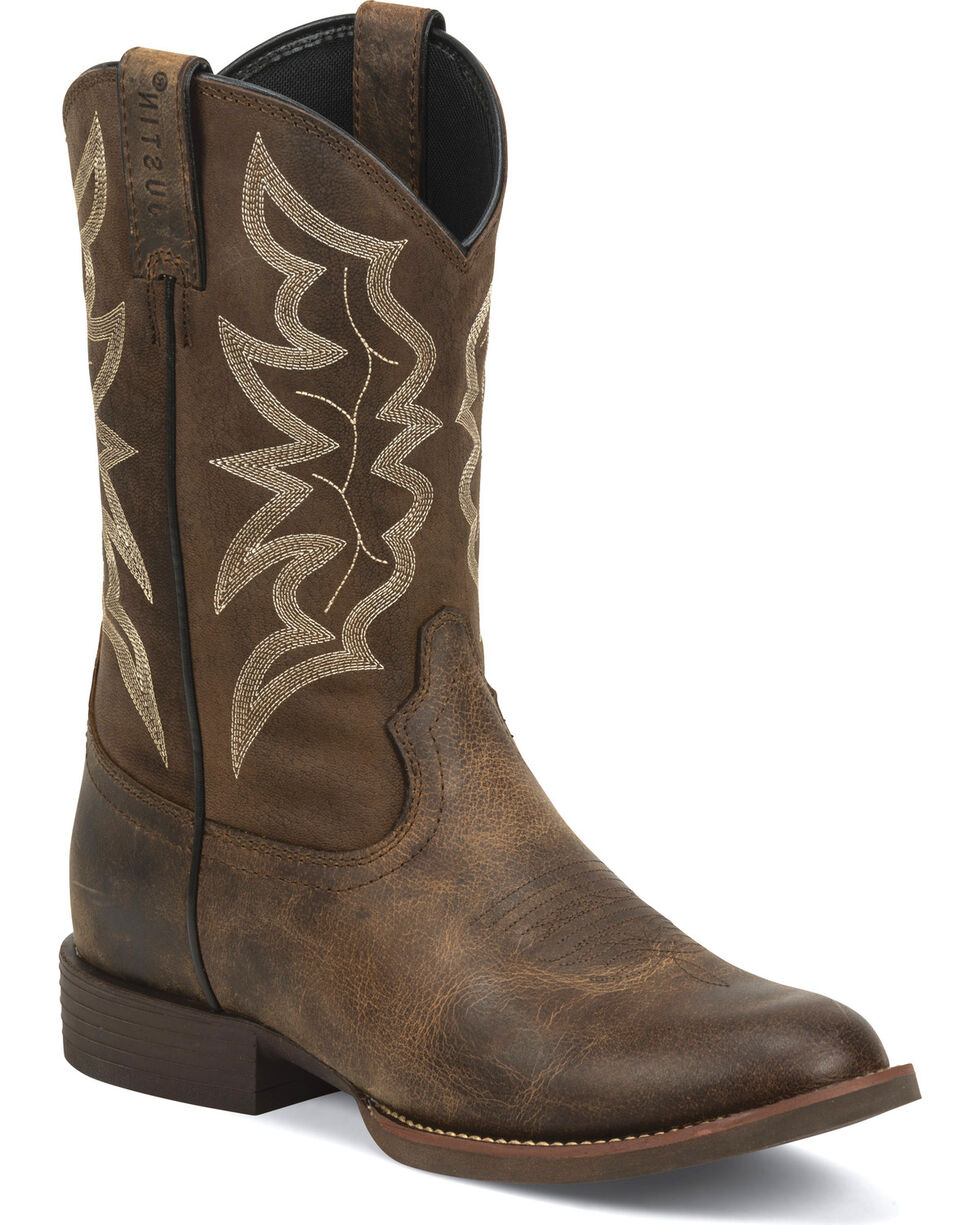 Justin Men's Buster Distressed Western Boots, Brown, hi-res