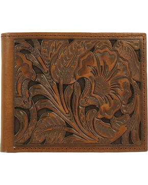 Ariat Men's Floral Embossed Bi-Fold Wallet, Brown, hi-res