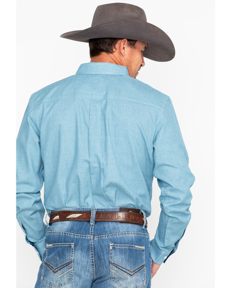 Cody James Men's Cross Roads Long Sleeve Western Shirt, Turquoise, hi-res