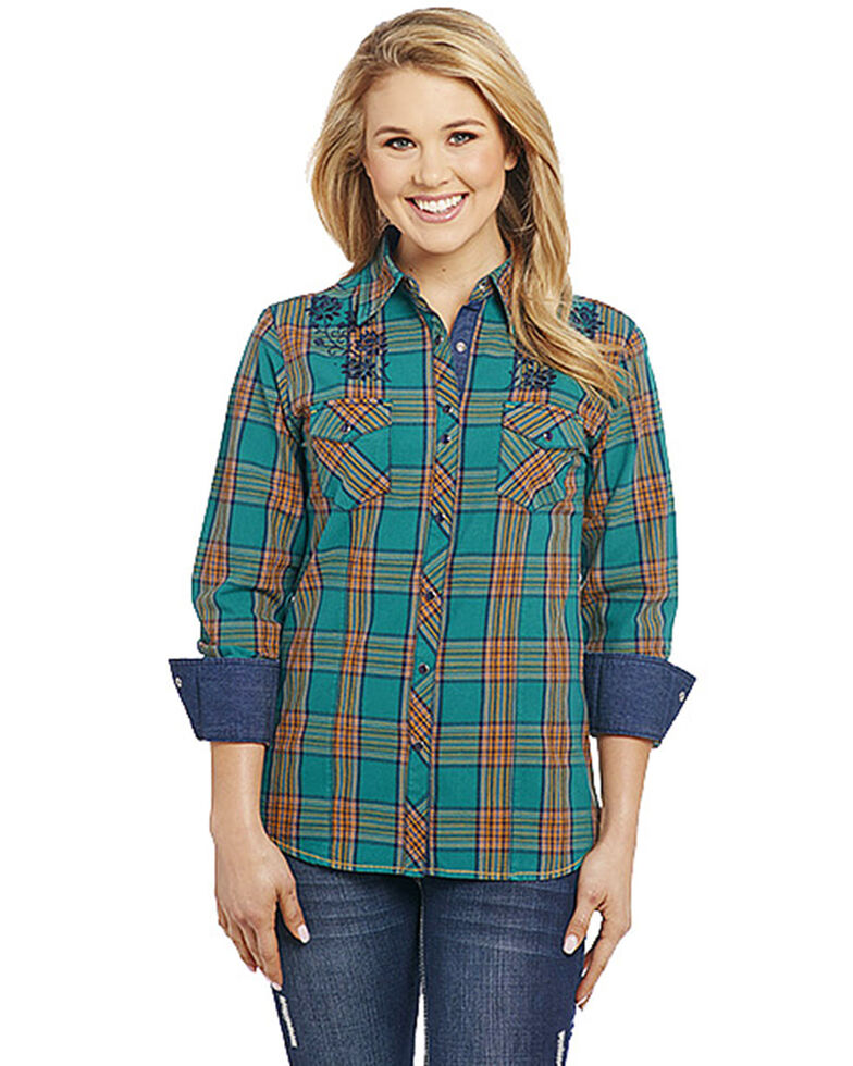 Cowgirl Up Women's Floral Embroidered Plaid Long Sleeve Western Shirt, Green, hi-res