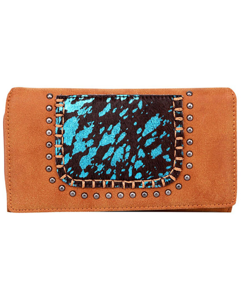 Trinity Ranch Women's Hair-On Turquoise Panel Wallet, Brown, hi-res