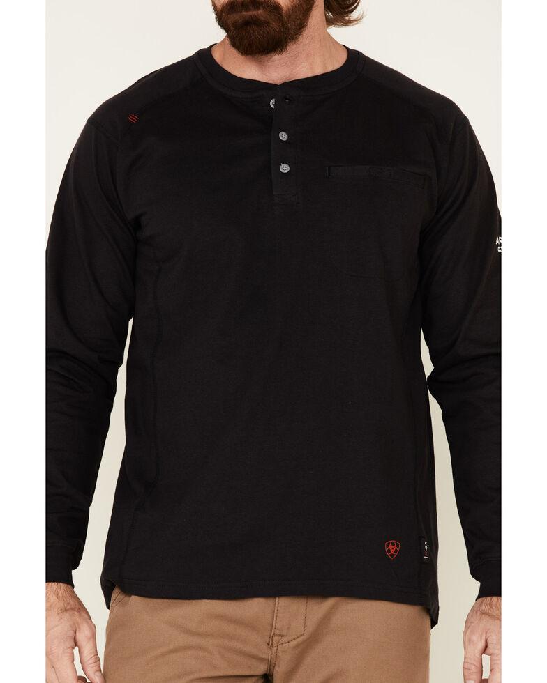Ariat Men's Black Air Henley Long Sleeve Work Shirt , Black, hi-res