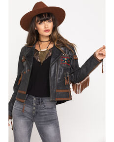 Double D Ranchwear Women's Black Buffalo Chase Jacket, Black, hi-res