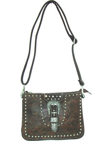Savana Women's Buckle Tooled Crossbody Bag, Tan, hi-res