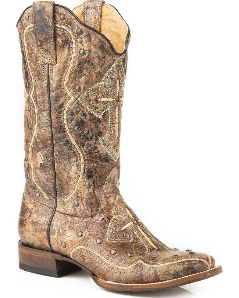 acc0b02e871 Roper Women's Pure Cross & Studs Cowgirl Boots - Square Toe