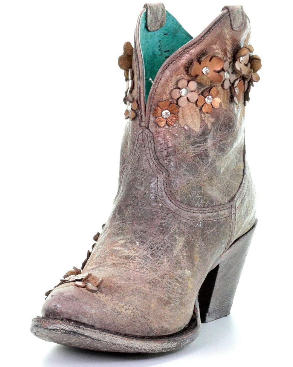 Corral Women's Floral Overlay Embroidered Stud and Crystals Ankle Boots - Pointed Toe , Brown, hi-res