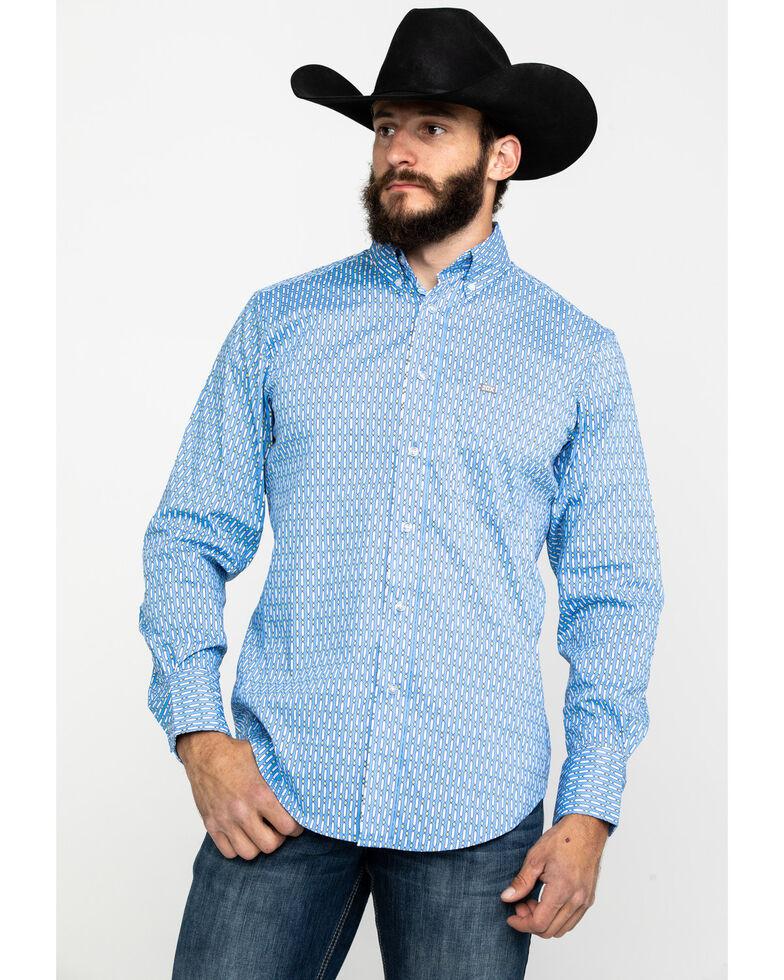 Wrangler 20X Men's Performance Multi Geo Print Long Sleeve Western Shirt , Purple, hi-res