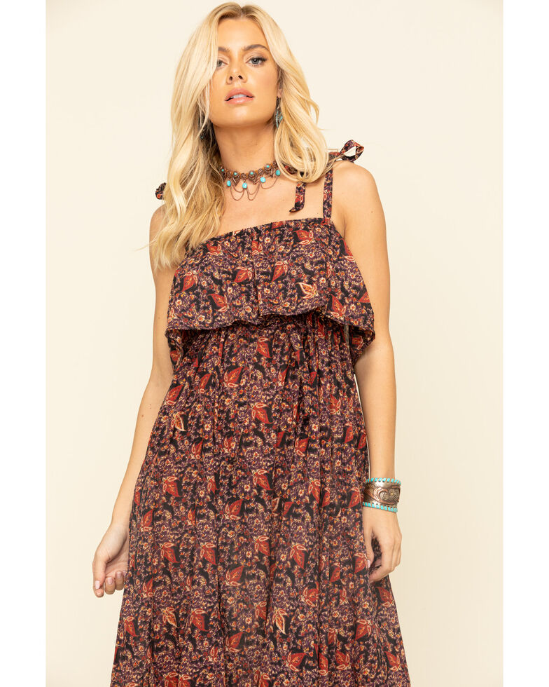 Free People Women's Tangier Babydoll Midi Dress, Black, hi-res