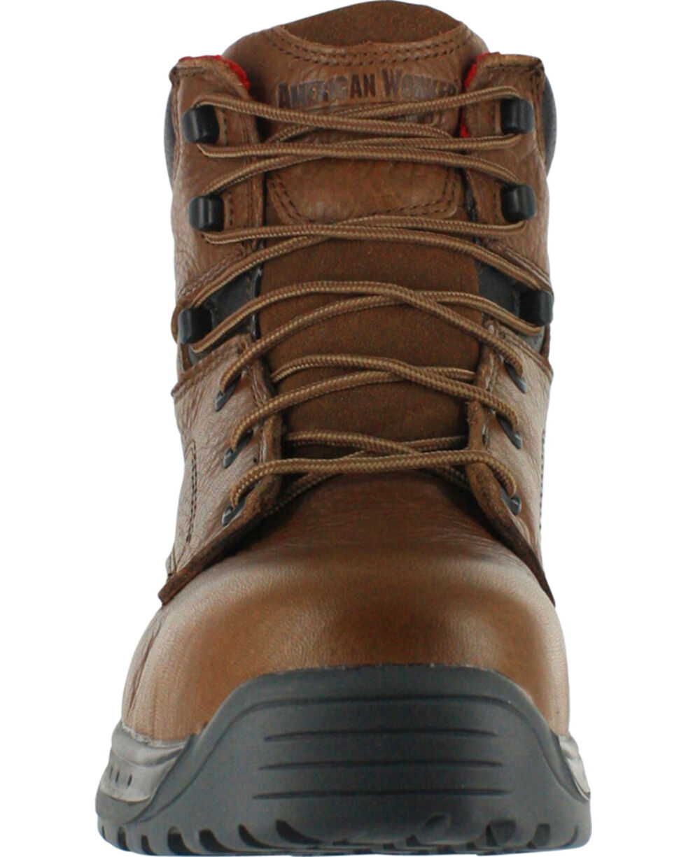 American Worker® Men's Steel Toe Work Boots, Brown, hi-res