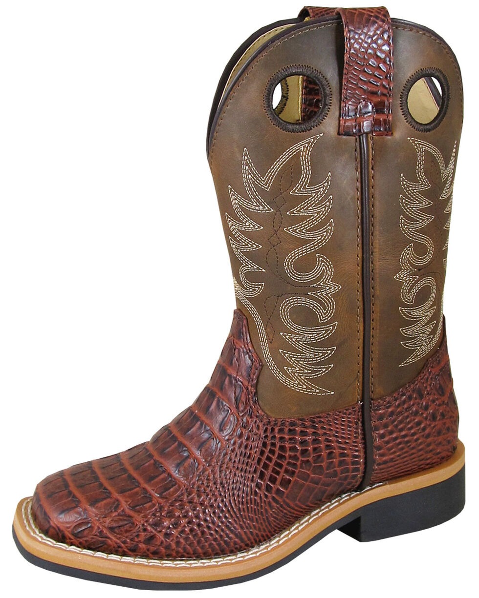 Smoky Mountain Boys' Cognac Faux Gator Western Boots - Square Toe, Cognac, hi-res
