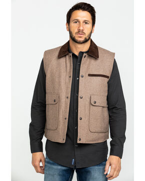 Cripple Creek Men's Wool Vest, Cream, hi-res