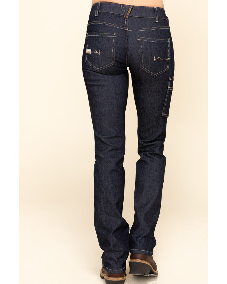 Ariat Women's Rebar Mid Rise Durastretch Raven Rinse Work Straight Jeanss , Blue, hi-res