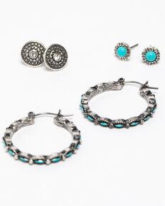 Shyanne Women's Blue Falls Mini Hoop 3pc Stud Earring Set, Silver, hi-res